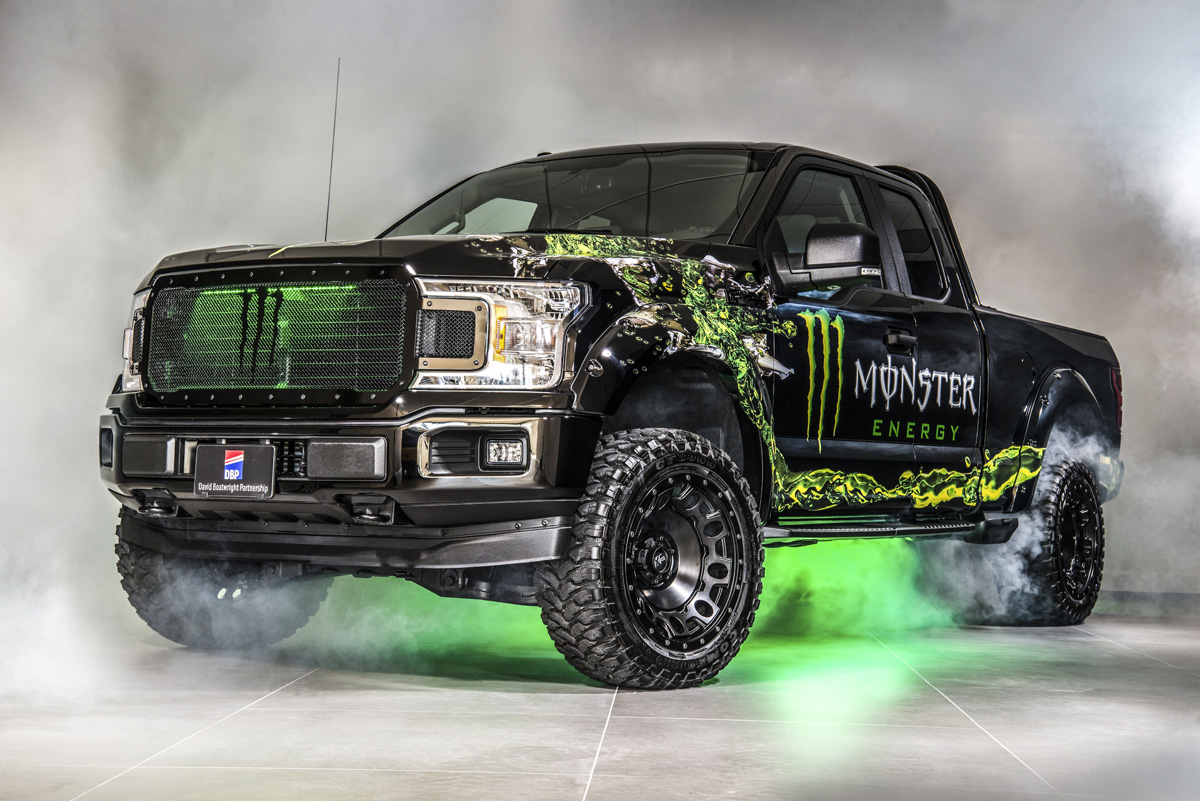 One of the stunning Monster Energy F150 ambassador fleet vehicles supplied and built in the UK by David Boatwright Partnership